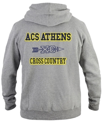 SA04_Hooded Sweatshirt with Small Lancer Logo on Front & Large ACS Athens Cross Country Logo on Back