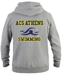 SA06_Hooded Sweatshirt with Small Lancer Logo on Front & Large ACS Athens Swimming Logo on Back