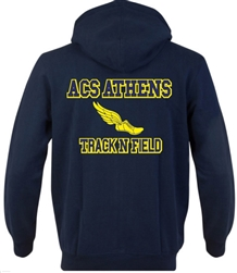 SA07_Hooded Sweatshirt with Small Lancer Logo on Front & Large ACS Athens Track & Field Logo on Back
