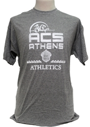 T13_Oxford (Sport) Gray Short Sleeve T-Shirt with Large ACS Athens Athletics Logo and Lancer