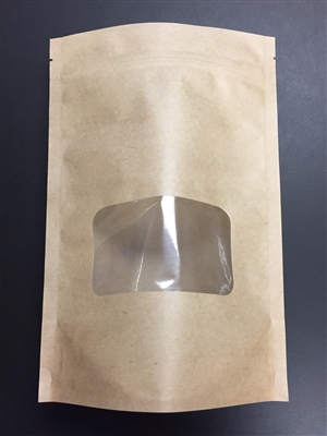 8oz Brown Kraft Paper Standup Pouch with Window