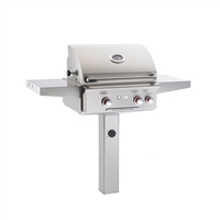 "AOG 24-in In-Ground Post Mount Grill ""T"" Series with Backburner and Rotisserie Kit"