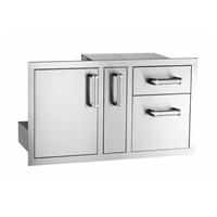 Fire Magic Flush Mounted Door/Drawer Combo With Platter Storage Soft Close, 18-IN x 36-IN