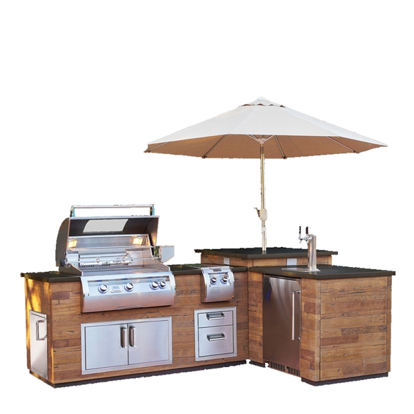 Fire Magic L-Shaped Reclaimed Wood Island - Reclaimed Wood Base with Polished Black Lava Counter