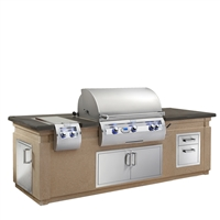 Fire Magic Pre-Fab Grill Islands, Cafe Blanco Base with Polished Smoke Counter (35-in x 108-in)