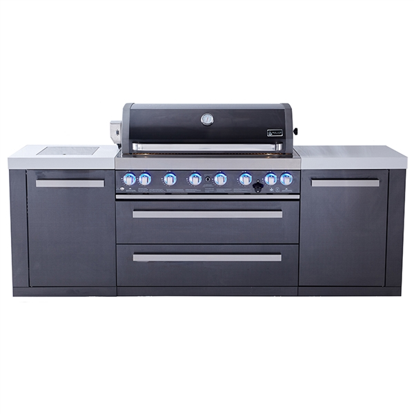 Mont Alpi 805 Black Stainless Steel Island, Infrared Side Burner - 93""