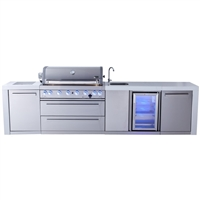 Mont Alpi 805 Deluxe Island with Beverage Center, Infrared Side Burner - 131""
