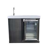 Mont Alpi Sink and Fridge Unit - Black Stainless Steel