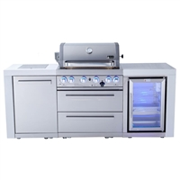 Mont Alpi 400 Deluxe Island with Fridge Cabinet, Infrared Side Burner