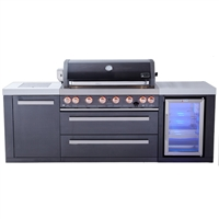 Mont Alpi 805 Black Stainless Steel Island with Fridge Cabinet, Infrared Side Burner
