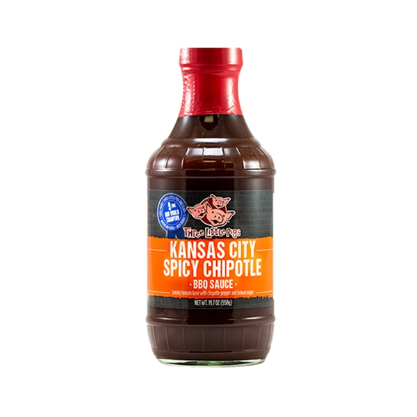 Three Little Pigs Kansas City Spicy Chipotle BBQ Sauce - 19.5 oz.