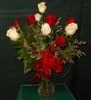 Red and White Long Stem Roses Dozen