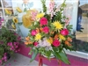 Sympathy Basket Spray Hot Pink and Yellows