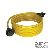 Quick Products QP-30-25THL 30 Amp RV Cord - Grip Handle Plug with Twist Lock and Light, 25'