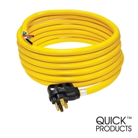 "Quick Products QP-50-30H 50 Amp RV Cord - Grip Handle Plug and 6"" Loose End, 30'"