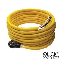 "Quick Products QP-50-36H 50 Amp RV Cord - Grip Handle Plug and 6"" Loose End, 36'"
