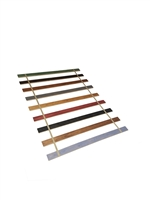 Custom Made in the U.S.A.! Twin Size Stained Wood Bed Slats with Colored Strapping - Cut to the Width of Your Choice
