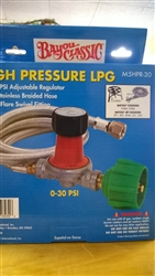Bayou Classic Hi Pressure LPG Regulator 0-30 psi
