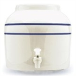 White Vinegar Crock with Blue Stripes -Lid