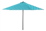 Lauren & Company 9' Teal/White Moroccan Pattern Patio Umbrella