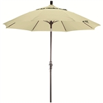 Fiberglass 9-foot Natural White Olefin Crank and Tilt Umbrella