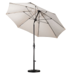 9 Foot Fiberglass Umbrella with stand- Natural White