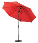 9 Foot Fiberglass Umbrella with stand-Cranberry Red