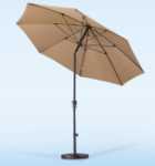 9 Foot Fiberglass Umbrella with stand-Antique Beige