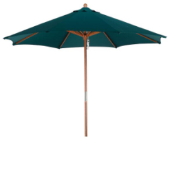 9 ft Faux Wood/Steel Hunter Green Patio Umbrella