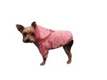 Puppy-Ro Pink Nylon and Faux Fur Hooded Puffer Puppy Dog Coat