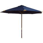 Ultra Premium 9' Navy Blue Market Umbrella with Top Grain Leather Tips