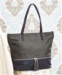 Two-Tone Tote with Tassels