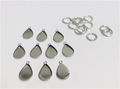 14mm Teardrop Pendant Blank Bezel (Pack of 10)