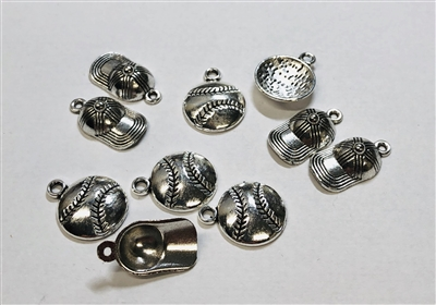 Baseball Charms Pack of 10 Charms