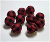 Red Farm house plaid balls Pack of 10 Charms (No hardware)