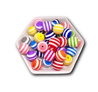 Stripped 20MM Bubblegum Beads (Mixed Bag of 3)