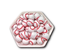 Baseball 20MM Bubblegum Beads (Pack of 3)