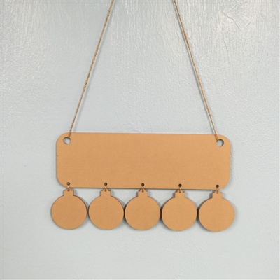 Holiday Wall Hanger with 5 Ball Ornaments
