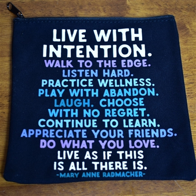 Live with Intention Zippered Pouch--Large (Quotable)