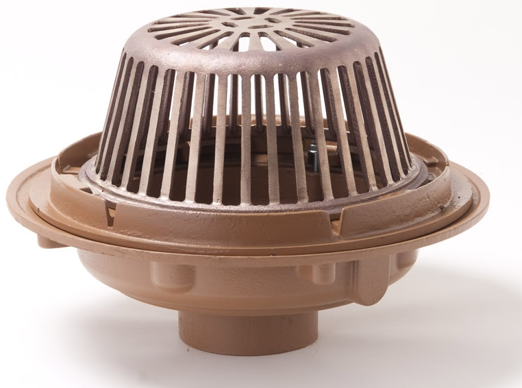 Smith 1010 15 25'' Cast Iron Roof Drain with Poly Dome