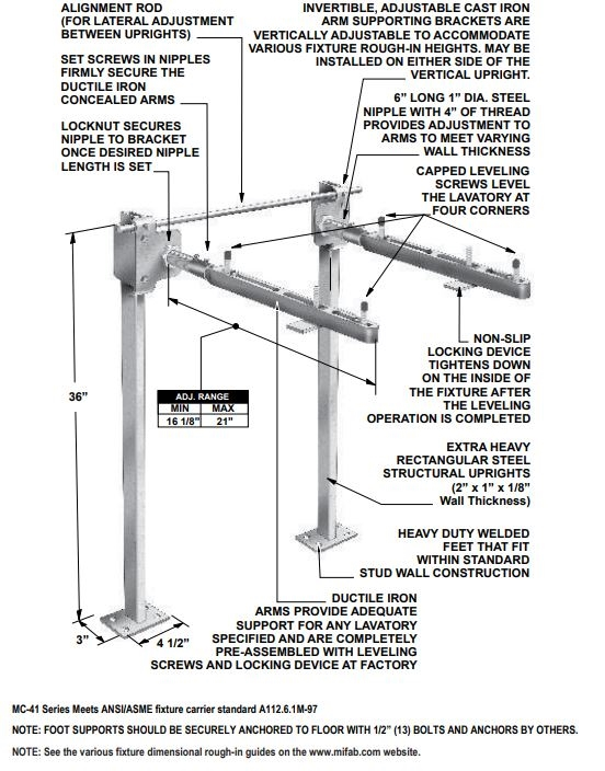 Mifab MC-41 Floor Mounted Concealed Arm Lavatory Carrier Fixture Support