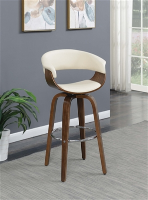 White & Walnut Retro Style Bar Stool