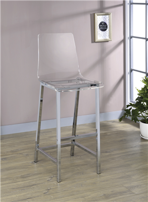 Modern Clear Acrylic Bar Stools With Chrome Metal Bases