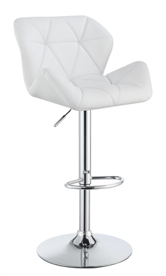 Modern White & Chrome Adjustable Bar Stool