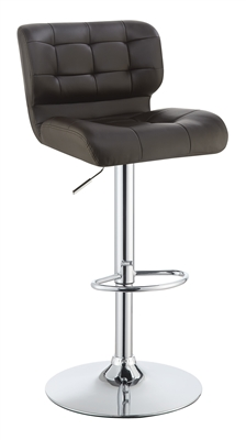 Adjustable Bar Stool in Brown Leatherette with Chrome Base