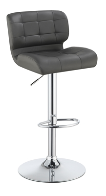 Adjustable Bar Stool in Grey Leatherette with Chrome Base