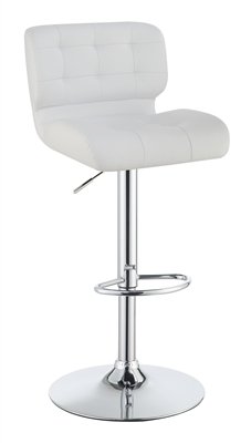 Adjustable Bar Stool in White Leatherette with Chrome Base