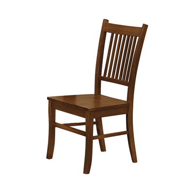 Mission Style Slat Back Side Chairs in Sienna Brown
