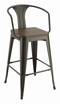 Industrial Style Dark Elm & Black Bar Stool (Set of 2)