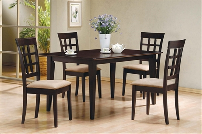 Contemporary 5-Piece Espresso Finish Dining Set with lattice Back Chairs